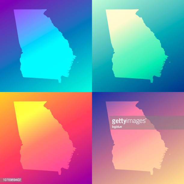 Georgia maps with colorful gradients - Trendy background