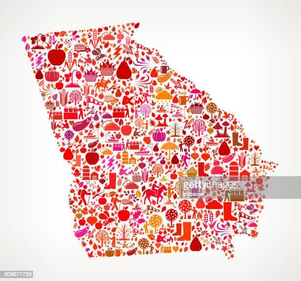 georgia on autumn seasonal royalty free vector art pattern - georgia us state stock illustrations, clip art, cartoons, & icons