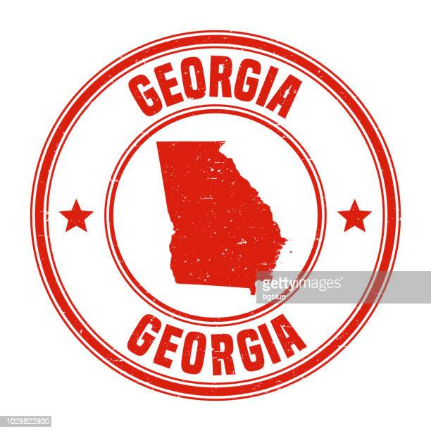 Georgia - Red grunge rubber stamp with name and map