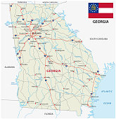 georgia road map with flag