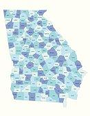 Georgia state - county map