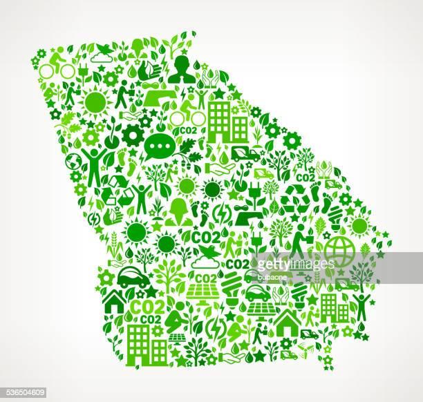 ilustraciones, imágenes clip art, dibujos animados e iconos de stock de georgia state conservación del medio ambiente y la naturaleza de la interfaz patrón de iconos - georgia estado de eeuu
