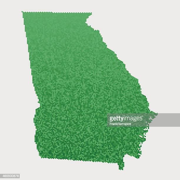 georgia state map green hexagon pattern - georgia us state stock illustrations, clip art, cartoons, & icons