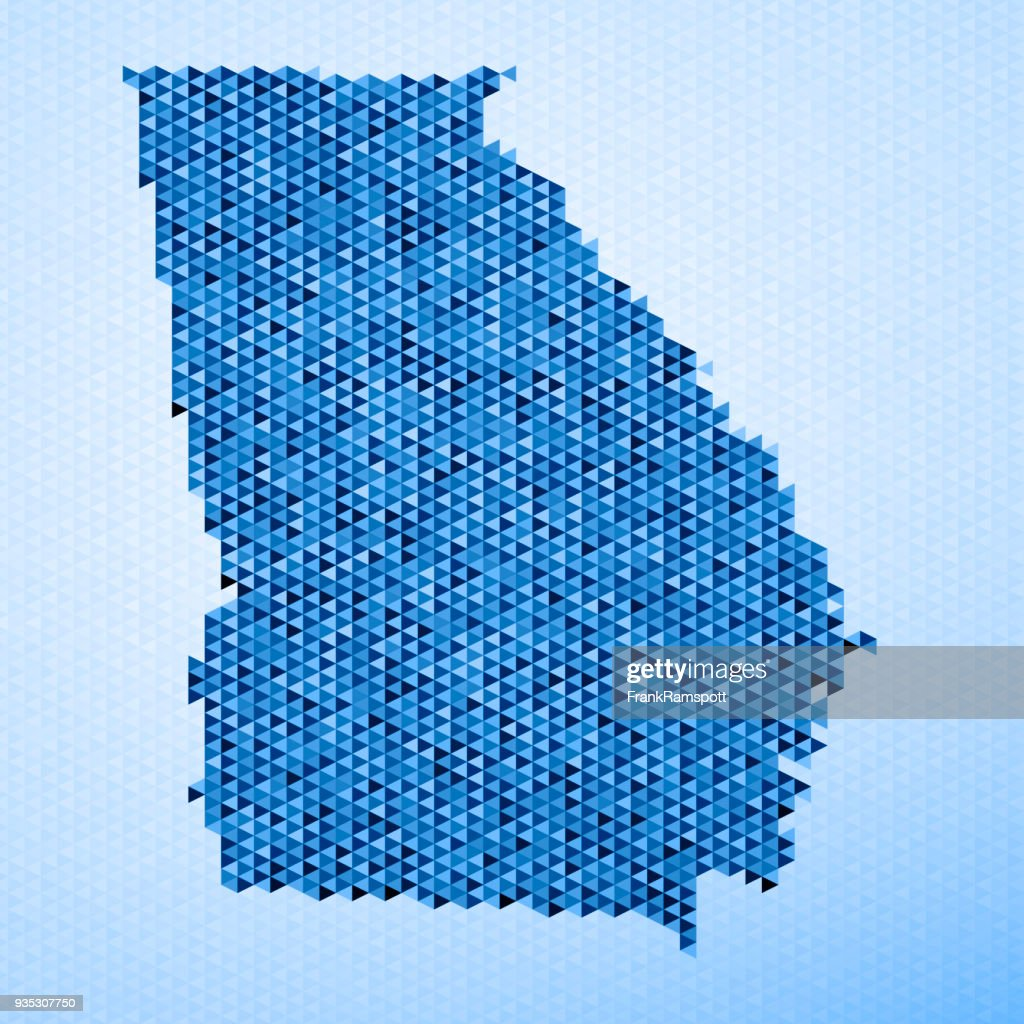 Georgia State Karte Dreieck Muster Blau : Stock-Illustration