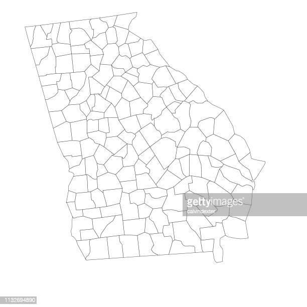 ilustraciones, imágenes clip art, dibujos animados e iconos de stock de mapa del estado de georgia con condados - georgia estado de eeuu