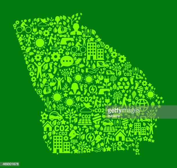 ilustraciones, imágenes clip art, dibujos animados e iconos de stock de georgia state on green conservación del medio ambiente y la naturaleza icono de diseño - georgia estado de eeuu