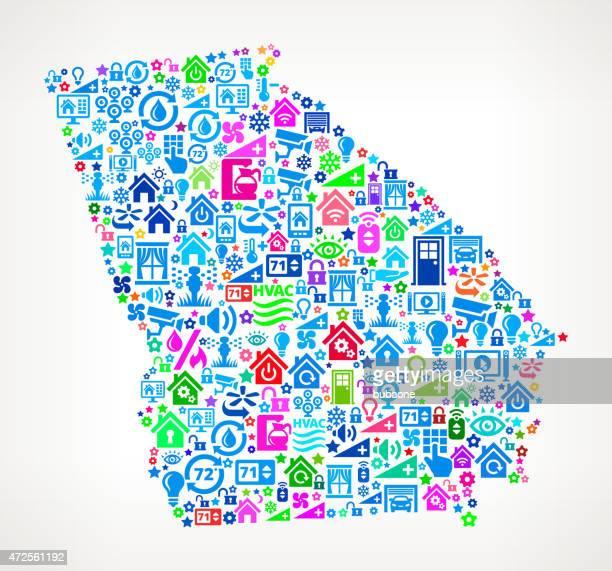 ilustraciones, imágenes clip art, dibujos animados e iconos de stock de georgia state en su hogar en la automatización y seguridad de vector de fondo - georgia estado de eeuu