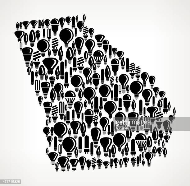 georgia state on vector lightbulb pattern background - georgia us state stock illustrations, clip art, cartoons, & icons