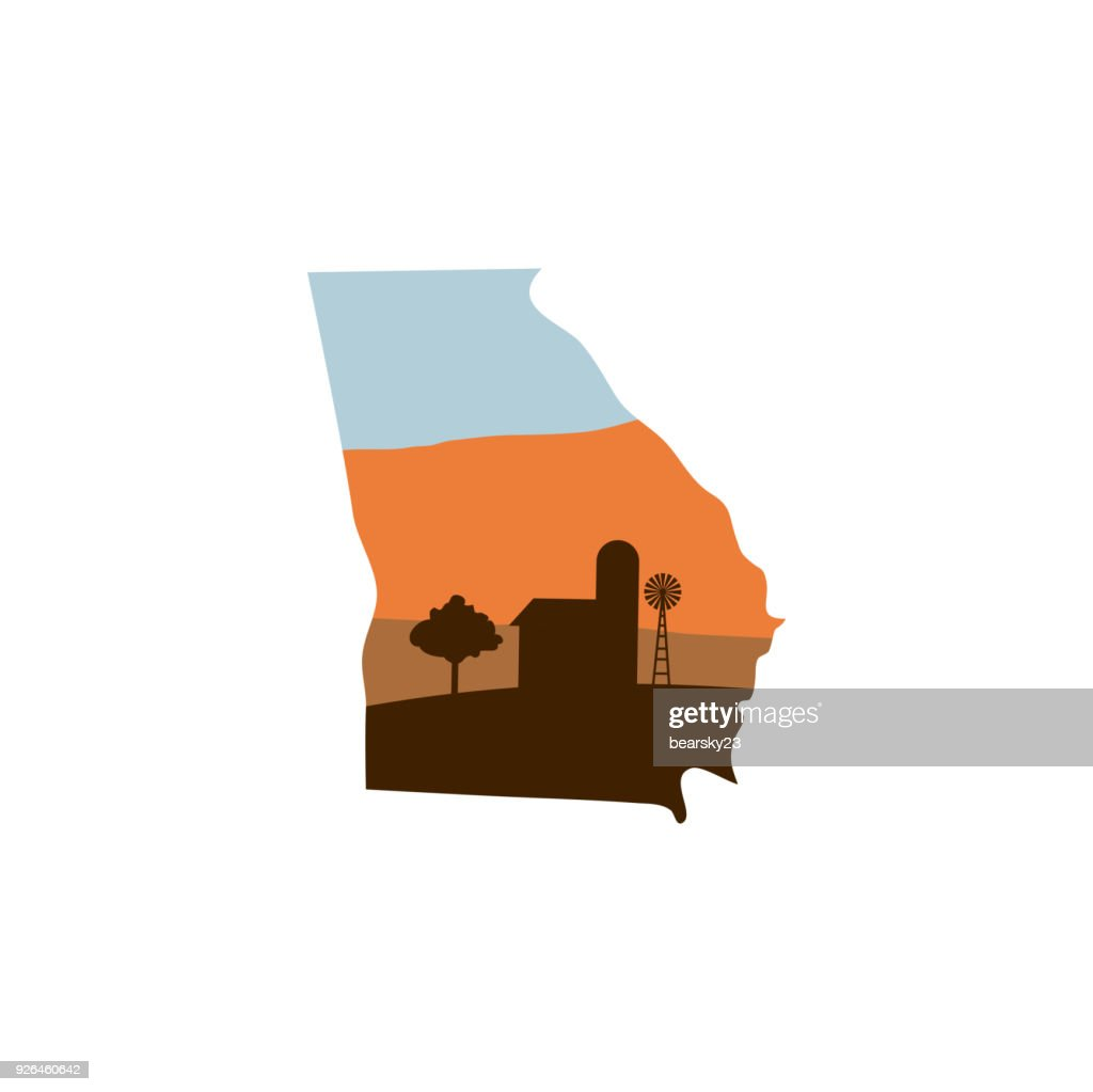 Georgia State Shape with Farm at Sunset w Windmill, Barn, and a Tree