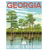 Georgia travel poster or sticker. Vector illustration of bald cypress in wetland swamp