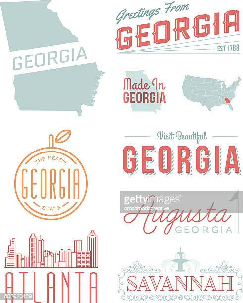 georgia typography - atlanta stock illustrations, clip art, cartoons, & icons
