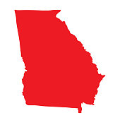 Georgia vector map icon. State of Georgia map contour outline silhouette.