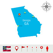 Georgia Vector Map Isolated on White Background. High Detailed Silhouette of Georgia State. Official Flag of Georgia
