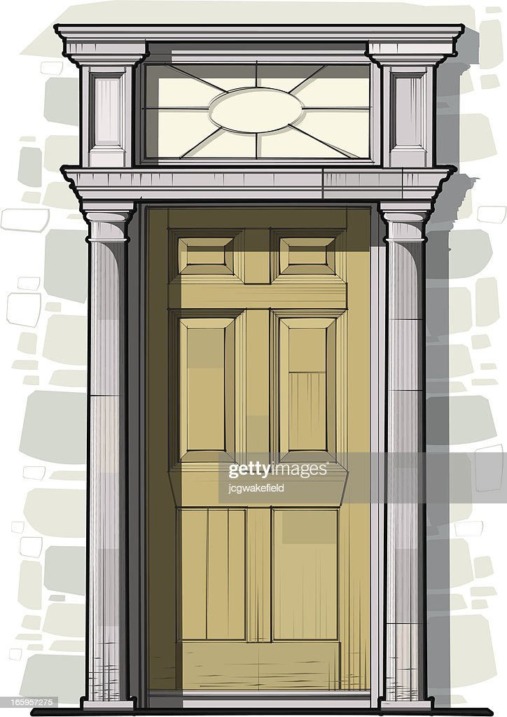 Georgian Door Detail with Columns and Round Fan Light  Vector Art & Georgian Door Detail With Columns And Round Fan Light Vector Art ... pezcame.com