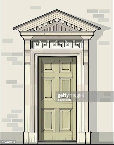 ilustrações, clipart, desenhos animados e ícones de georgian portas detalhes com frontão triangular - pediment