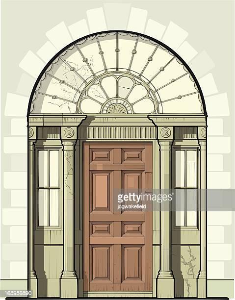 ジョージ王朝様式のドアに装飾ファンライト - ジョージア調点のイラスト素材/クリップアート素材/マンガ素材/アイコン素材