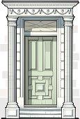 Georgian Door with Fluted Columns