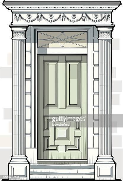 ジョージ王朝様式のドアに波形の柱 - ジョージア調点のイラスト素材/クリップアート素材/マンガ素材/アイコン素材