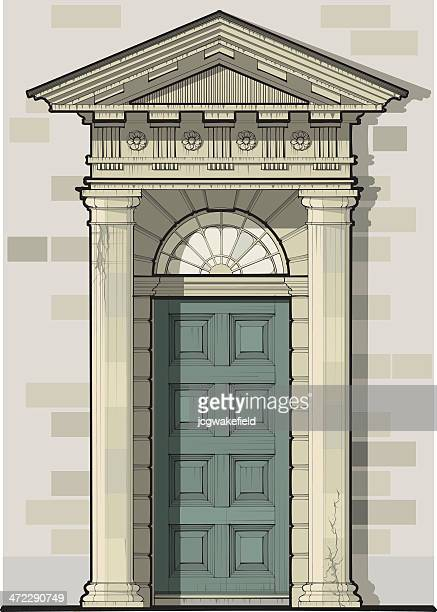 georgian door with pediment & columns - pediment stock illustrations, clip art, cartoons, & icons