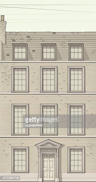 ilustrações, clipart, desenhos animados e ícones de georgian terrace house - pediment
