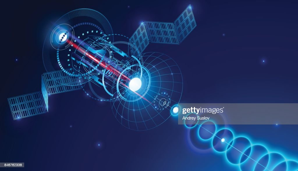 Geostationary telecommunications satellite from space sends a digital signal via satellite dish. Conceptual abstract background. VECTOR