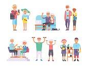 Geriatric care pensioners retirees and happy senior woman elder age