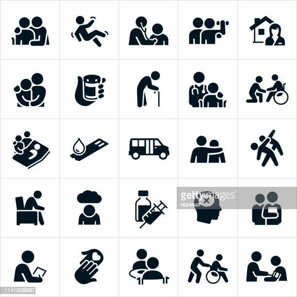 geriatrics icons - medical exam stock illustrations