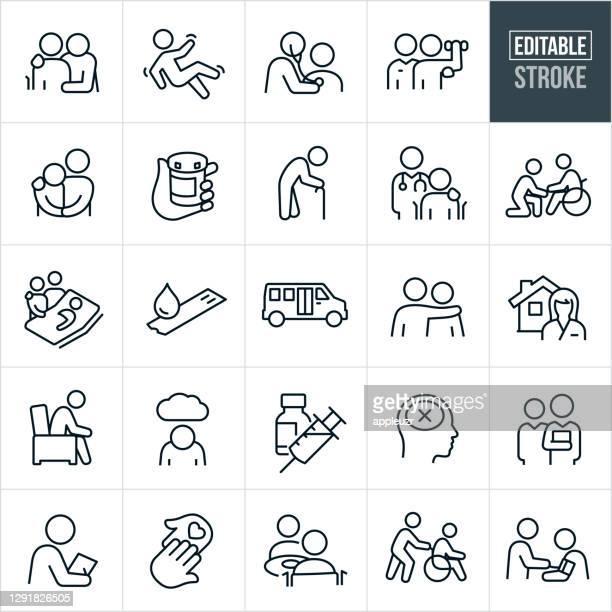 stockillustraties, clipart, cartoons en iconen met geriatrie thin line iconen - bewerkbare lijn - ziekte van alzheimer