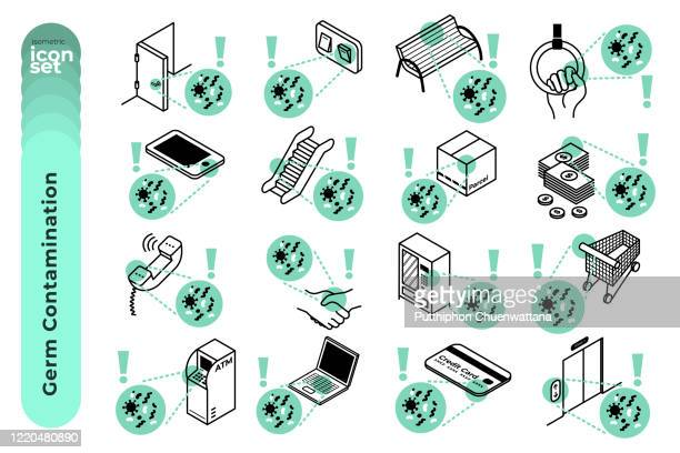 germ contamination mono colour outline icon set on white background. vector stock illustration - infectious disease stock illustrations
