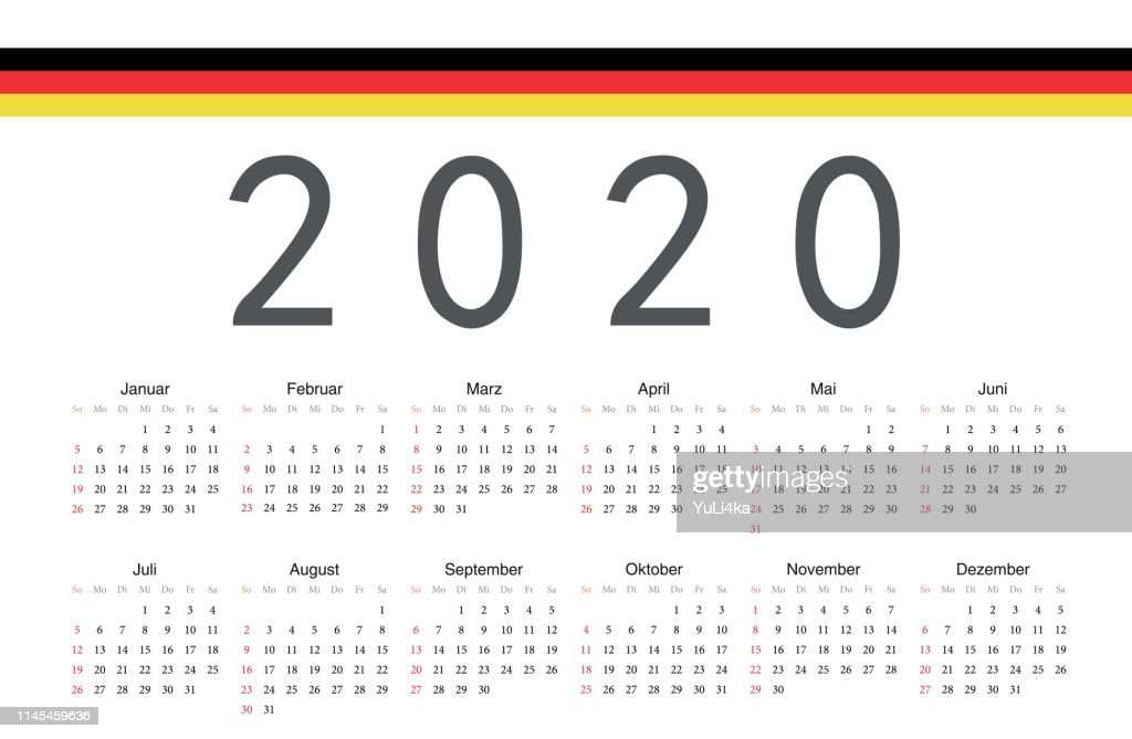 German 2020 year vector calendar.