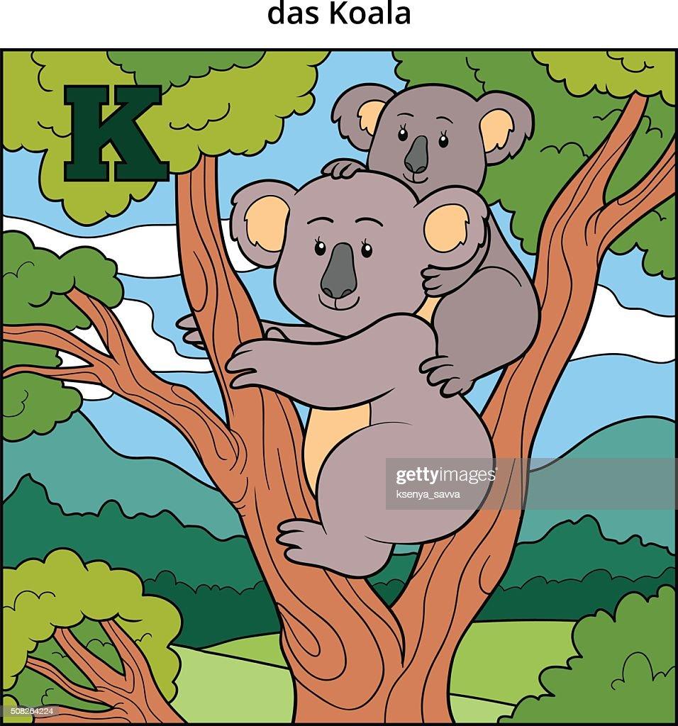 German alphabet, letter K (koala and background)