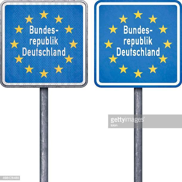Deutsche border road sign mit EU-Flagge