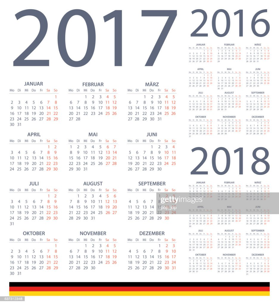 german calendar 2017 2016 2018 illustration vector art