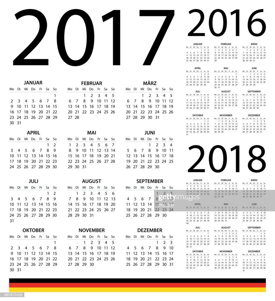 deutsche kalender 2017 2016 2018illustration vektorgrafik. Black Bedroom Furniture Sets. Home Design Ideas