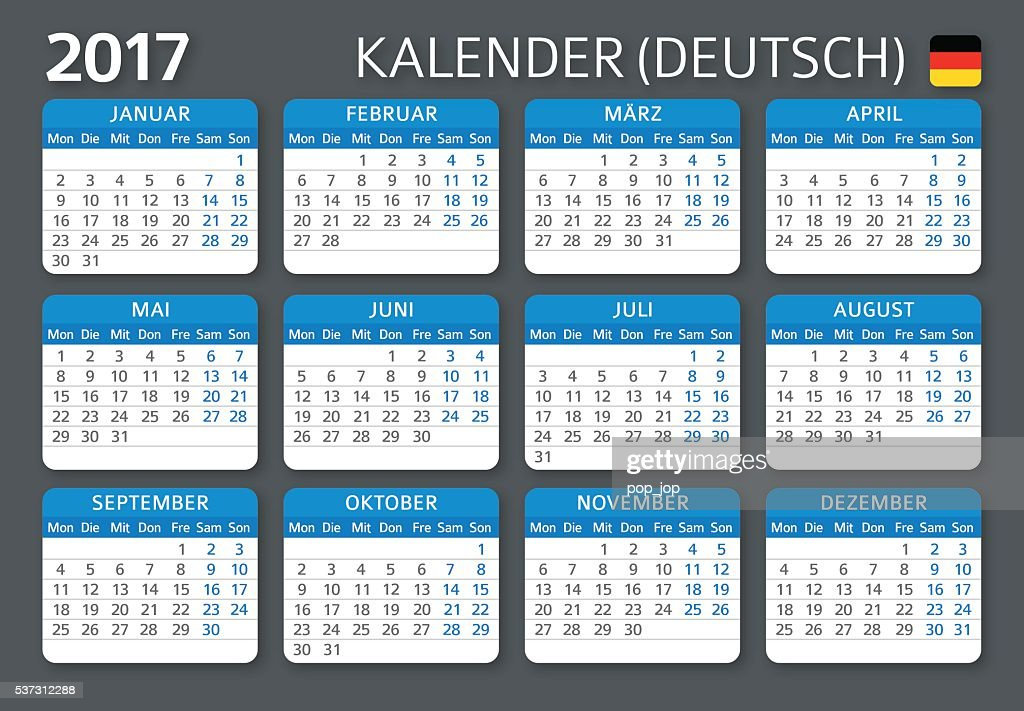 german calendar 2017 deutsch kalender 2017 vector art. Black Bedroom Furniture Sets. Home Design Ideas