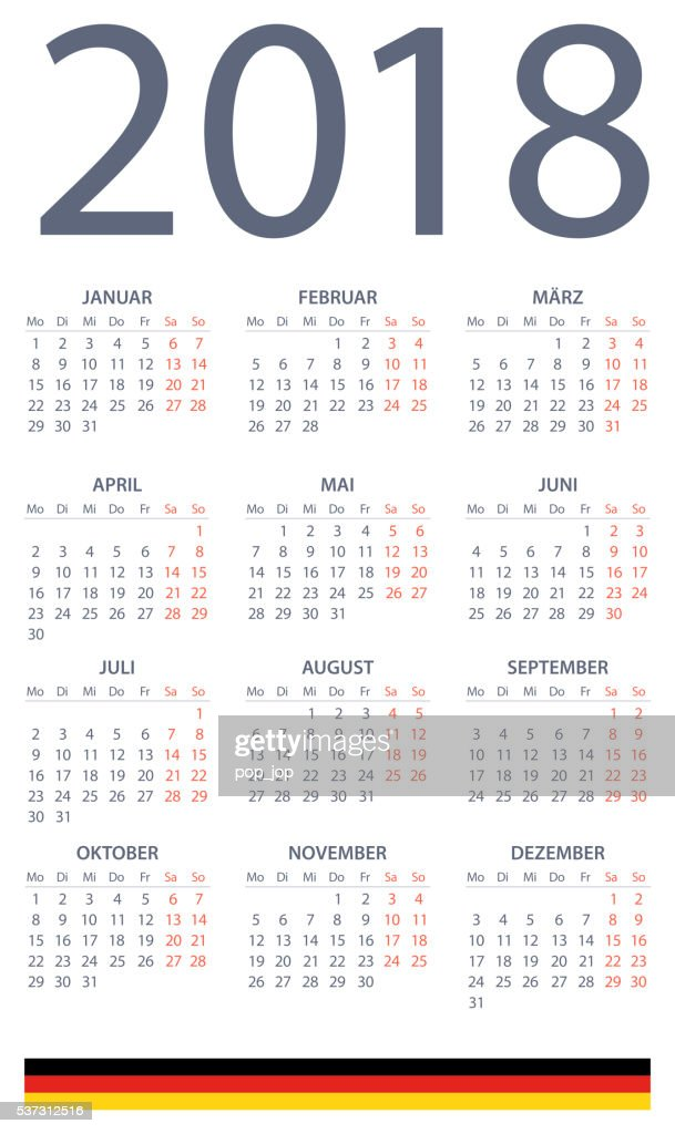 german calendar 2018 illustration vector art