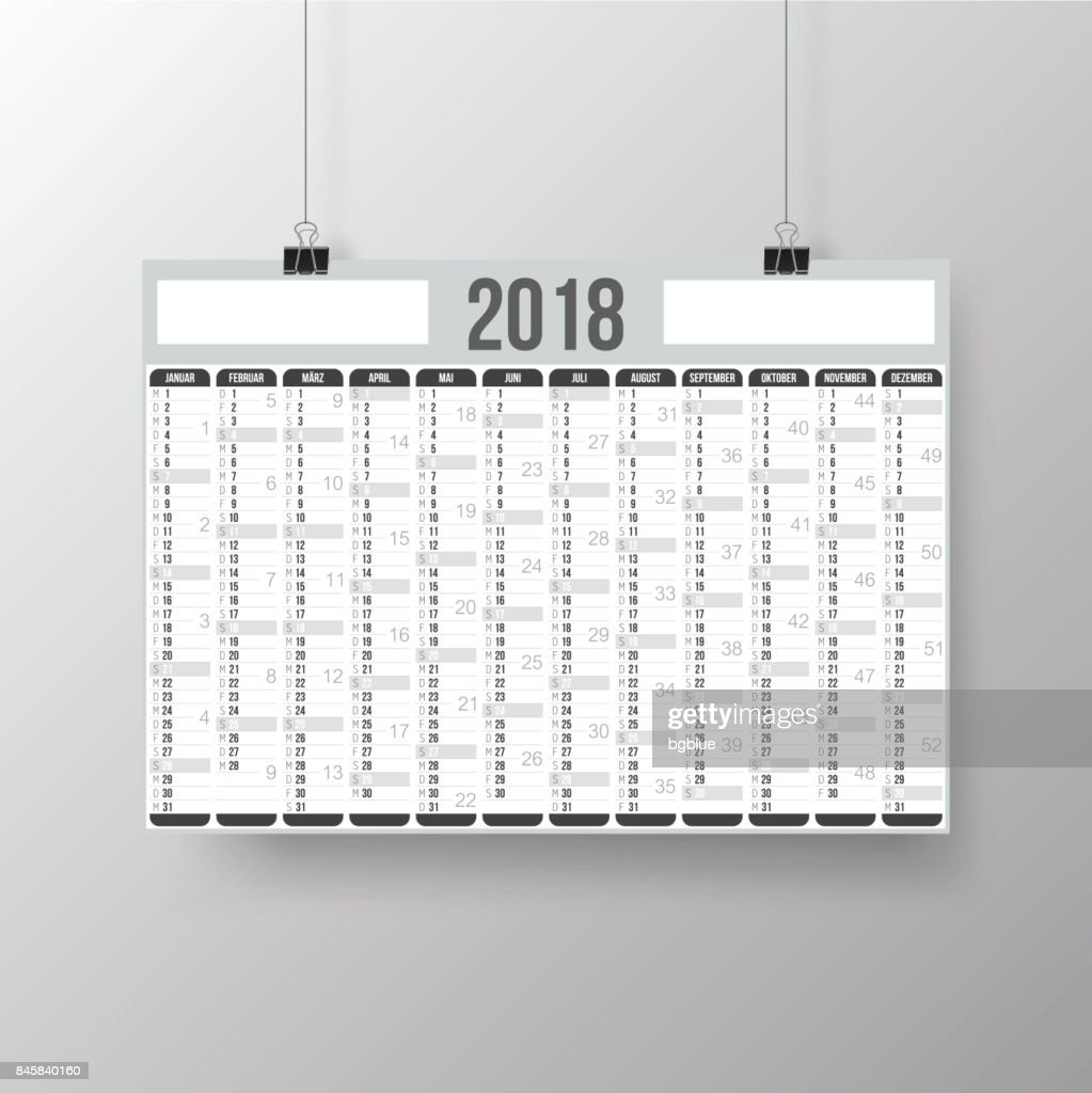 german calendar 2018 poster on gray brackground vector art