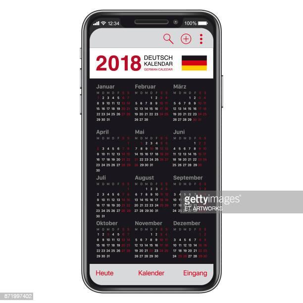 Deutscher Kalender 2018 auf Smartphone