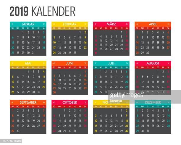 2019 german calendar template design - 2019 stock illustrations