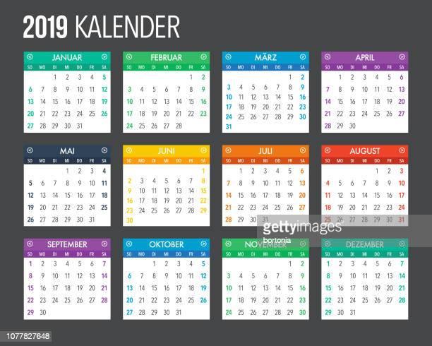 2019 deutschen kalender vorlagendesign - 2019 stock-grafiken, -clipart, -cartoons und -symbole