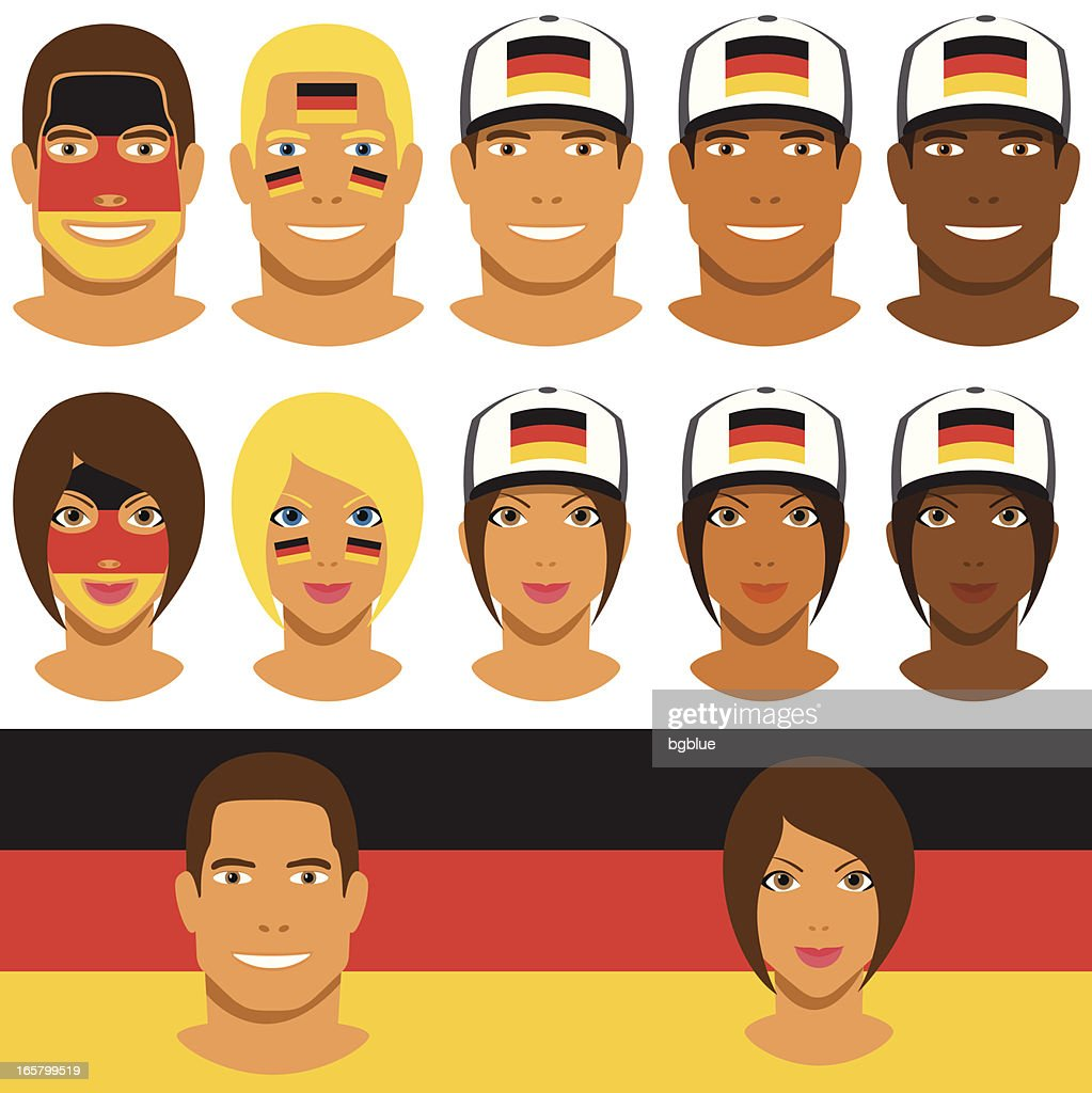 German fans, patriot with flag of Germany