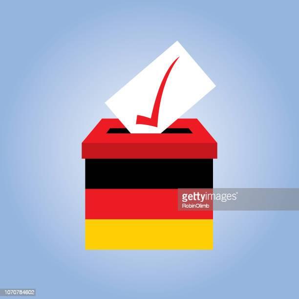 deutsche flagge wahlurne - politische partei stock-grafiken, -clipart, -cartoons und -symbole