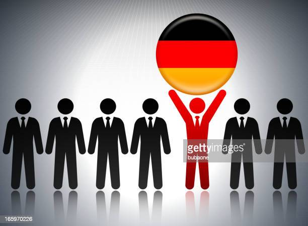 German Flag Button with Business Concept Stick Figures