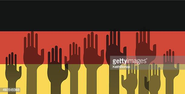 German Flag with Volunteering Hands