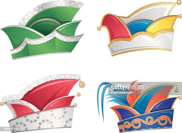 german karneval jester's hats - jester's hat stock illustrations, clip art, cartoons, & icons