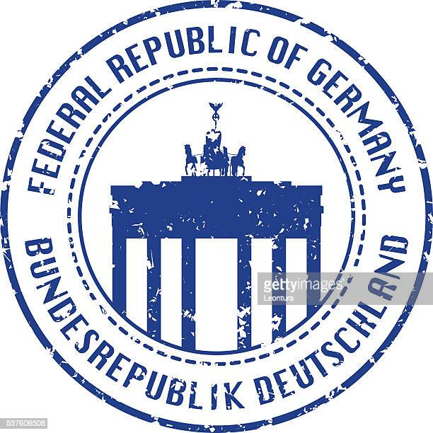 german passport stamp - brandenburg gate stock illustrations, clip art, cartoons, & icons