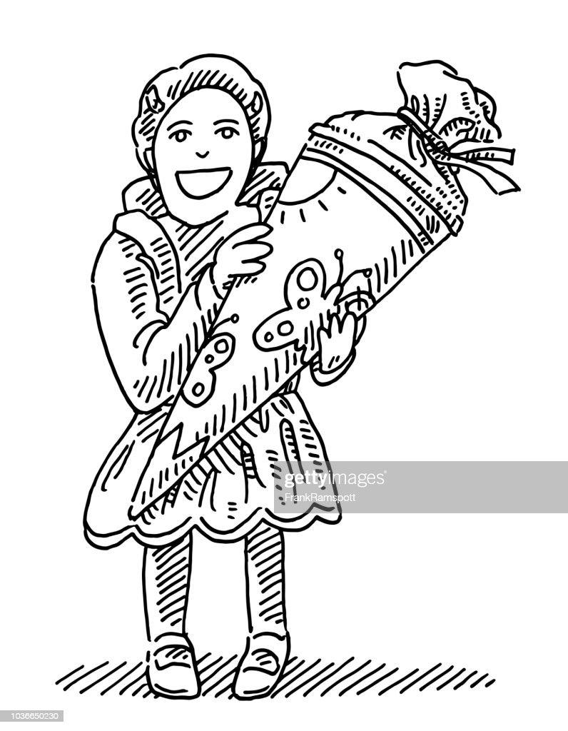 Deutsche Grundschule Starter Kegel vorliegenden Zeichnung : Stock-Illustration