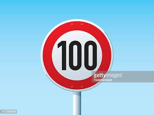 ドイツの速度制限標識 100 kmh - 数字の100点のイラスト素材/クリップアート素材/マンガ素材/アイコン素材