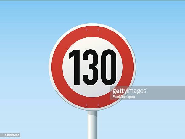 Deutsche Road Sign Speed Limit 130 kmh