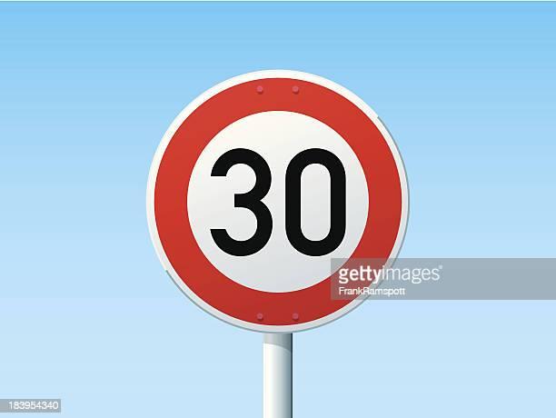 stockillustraties, clipart, cartoons en iconen met german road sign speed limit 30 kmh - geografische locatie